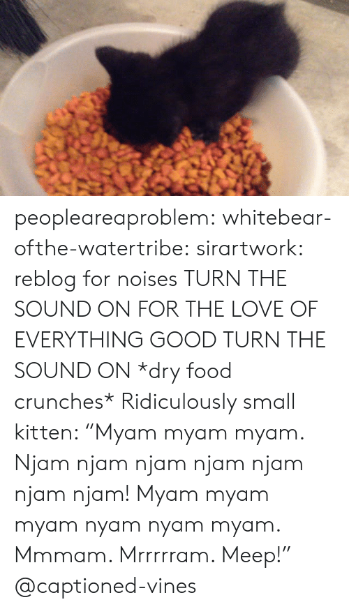 "Dry Food: peopleareaproblem:  whitebear-ofthe-watertribe:  sirartwork:  reblog for noises  TURN THE SOUND ON FOR THE LOVE OF EVERYTHING GOOD TURN THE SOUND ON  *dry food crunches* Ridiculously small kitten: ""Myam myam myam. Njam njam njam njam njam njam njam! Myam myam myam nyam nyam myam. Mmmam. Mrrrrram. Meep!"" @captioned-vines"