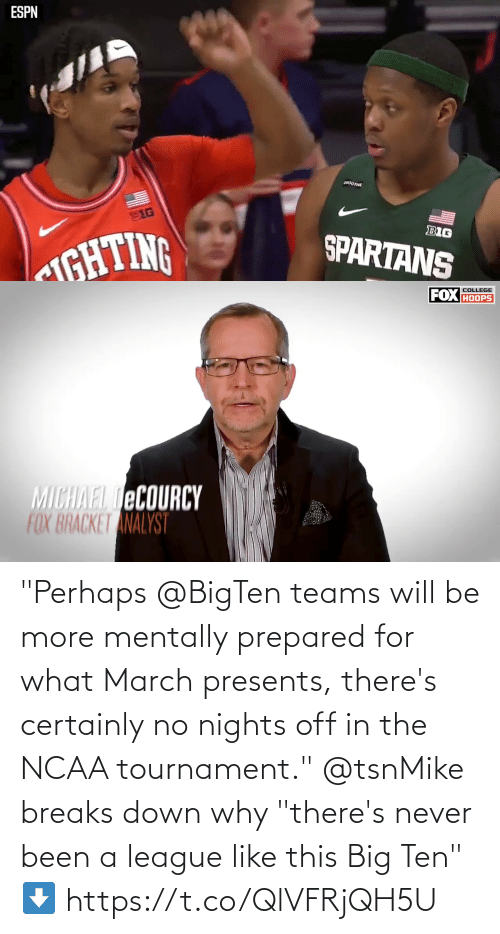 """Been: """"Perhaps @BigTen teams will be more mentally prepared for what March presents, there's certainly no nights off in the NCAA tournament.""""   @tsnMike breaks down why """"there's never been a league like this Big Ten"""" ⬇️ https://t.co/QlVFRjQH5U"""
