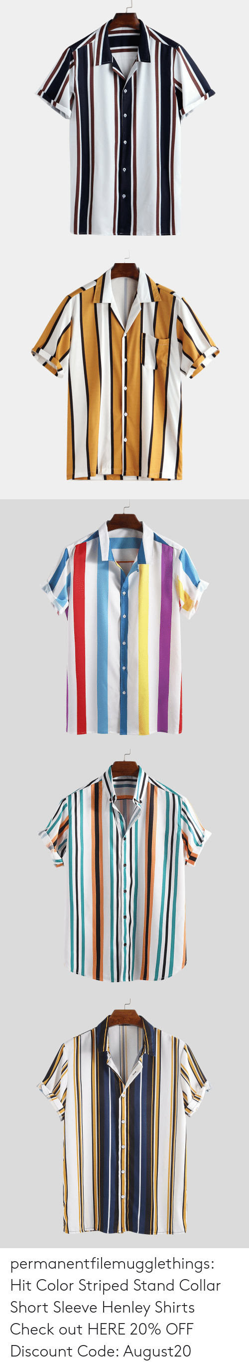 Tumblr, Blog, and Com: permanentfilemugglethings: Hit Color Striped Stand Collar Short Sleeve Henley Shirts Check out HERE 20% OFF Discount Code: August20