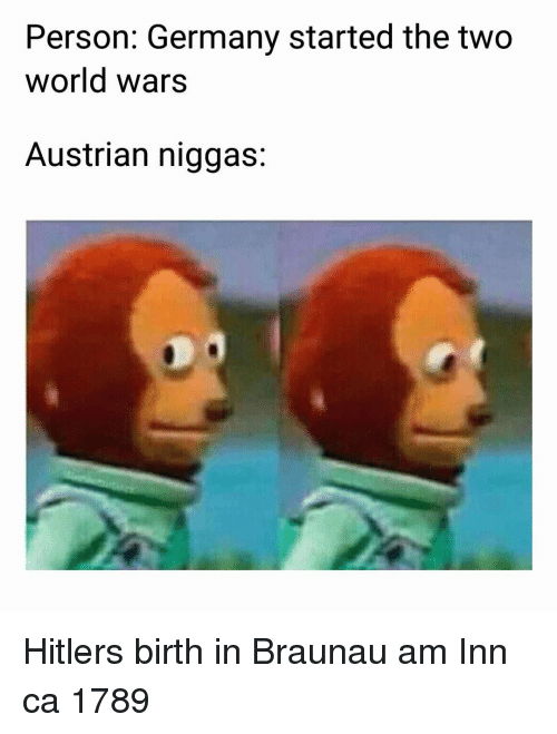 Germany, Hitler, and World: Person: Germany started the two  world wars  Austrian niggas: Hitlers birth in Braunau am Inn ca 1789