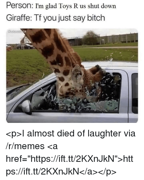"Bitch, Memes, and Toys R Us: Person: I'm glad Toys R us shut down  Giraffe: Tf you just say bitch <p>I almost died of laughter via /r/memes <a href=""https://ift.tt/2KXnJkN"">https://ift.tt/2KXnJkN</a></p>"