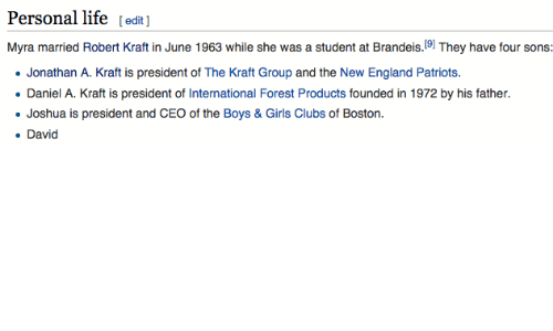 Club, England, and Girls: Personal life  [edit  Myra married Robert Kraft in June 1963 while she was a student at Brandeis  19) They have four sons  Jonathan A. Kraft is president of The Kraft Group and the New England Patriots.  Daniel A. Kraft is president of International Forest Products founded in 1972 by his father.  Joshua is president and CEO of the Boys & Girls Clubs of Boston.  David
