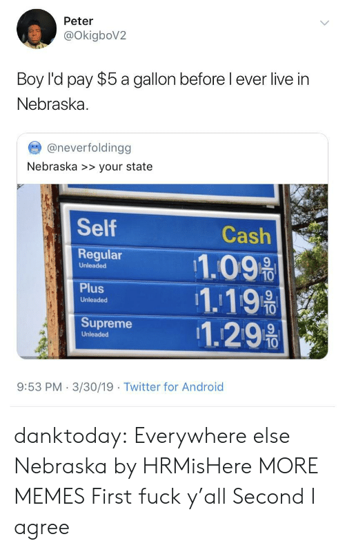 Android, Dank, and Memes: Peter  OkigboV2  Boy l'd pay $5 a gallon before l ever live in  Nebraska  @neverfoldingg  Nebraska >> your state  Self  Regular 11.09%  Cash  Unleaded  1.19  Unleaded  Supreme 1.29%  Unleaded  10  9:53 PM 3/30/19  Twitter for Android danktoday:  Everywhere else  Nebraska by HRMisHere MORE MEMES  First fuck y'all Second I agree