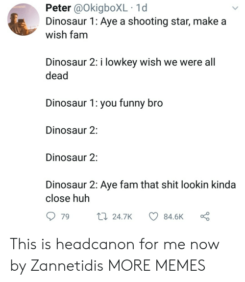 you funny: Peter @OkigboXL 1d  Dinosaur 1: Aye a shooting star, make a  wish tam  Dinosaur 2: i lowkey wish we were all  dead  Dinosaur 1: you funny bro  Dinosaur 2:  Dinosaur 2:  Dinosaur 2: Aye fam that shit lookin kinda  close huh  79  24.7K  84.6K This is headcanon for me now by Zannetidis MORE MEMES