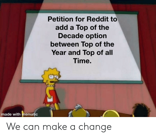 top: Petition for Reddit to  add a Top of the  Decade option  between Top of the  Year and Top of all  Time.  made with mematic We can make a change