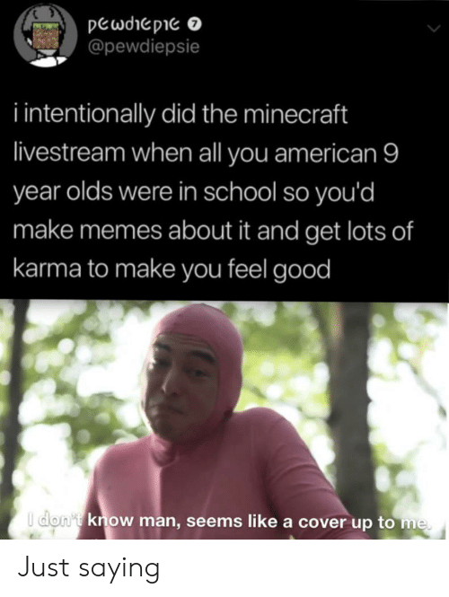 Memes, Minecraft, and School: pewdiepie o  @pewdiepsie  i intentionally did the minecraft  livestream when all you american 9  year olds were in school so you'd  make memes about it and get lots of  karma to make you feel good  I don't know man, seems like a cover up to me Just saying