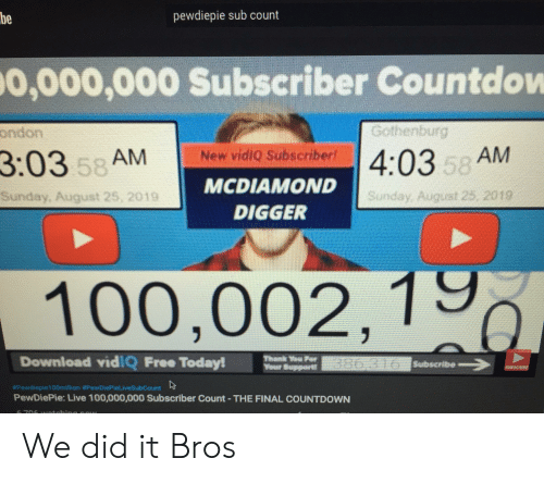 Countdown, Free, and Live: pewdiepie sub count  be  0,000,000 Subscriber Countdow  Gothenburg  ondon  New vidiQ Subscriber  4:03 58 AM  3:03 58 AM  MCDIAMOND  Sunday, August 25, 2019  Sunday, August 25, 2019  DIGGER  100,002,1  Download vid!Q Free Today!  Thank P  Weur Bupport 0 6Subacribe  SUDSCROBE  #Pewdieple100million #PewDiePietiveSub Count  PewDiePie: Live 100,000,000 Subscriber Count - THE FINAL COUNTDOWN  706 16etmhina now We did it Bros