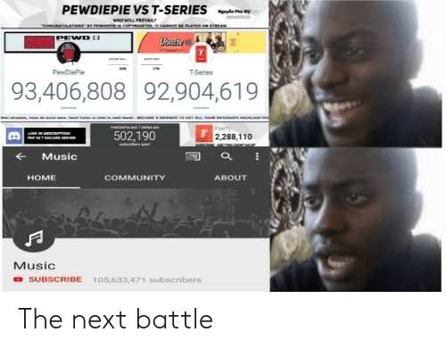 Andrew Bogut: PEWDIEPIE VS T-SERIES  WHO WILL PREVAIL  PEND  T-Series  93,406,808 92,904,619  502,190  2,288,110  ← Music  HOME  COMMUNITY  ABOUT  Music  O SUBSCRIBE 105,633,471 subscribers The next battle