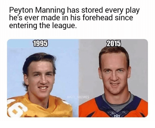 Nfl, Peyton Manning, and The League: Peyton Manning has stored every play  he's ever made in his forehead since  entering the league.  1995  2015  ES