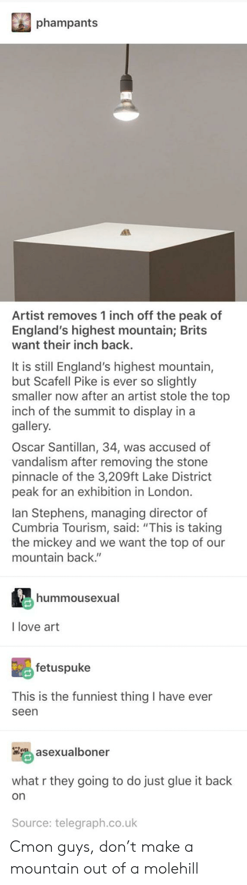 "telegraph.co.uk: phampants  Artist removes 1 inch off the peak of  England's highest mountain; Brits  want their inch back.  It is still England's highest mountain,  but Scafell Pike is ever so slightly  smaller now after an artist stole the top  inch of the summit to display in a  gallery.  Oscar Santillan, 34, was accused of  vandalism after removing the stone  pinnacle of the 3,209ft Lake District  peak for an exhibition in London.  lan Stephens, managing director of  Cumbria Tourism, said: ""This is taking  the mickey and we want the top of our  mountain back.""  hummousexual  I love art  fetuspuke  This is the funniest thing I have ever  seen  asexualboner  what r they going to do just glue it back  on  Source: telegraph.co.uk Cmon guys, don't make a mountain out of a molehill"