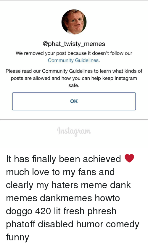 hater meme: @phat twisty memes  We removed your post because it doesn't follow our  Community Guidelines  Please read our Community Guidelines to learn what kinds of  posts are allowed and how you can help keep Instagram  safe  OK It has finally been achieved ❤️️ much love to my fans and clearly my haters meme dank memes dankmemes howto doggo 420 lit fresh phresh phatoff disabled humor comedy funny