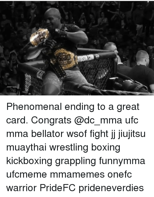 Boxing, Memes, and Phenomenal: Phenomenal ending to a great card. Congrats @dc_mma ufc mma bellator wsof fight jj jiujitsu muaythai wrestling boxing kickboxing grappling funnymma ufcmeme mmamemes onefc warrior PrideFC prideneverdies