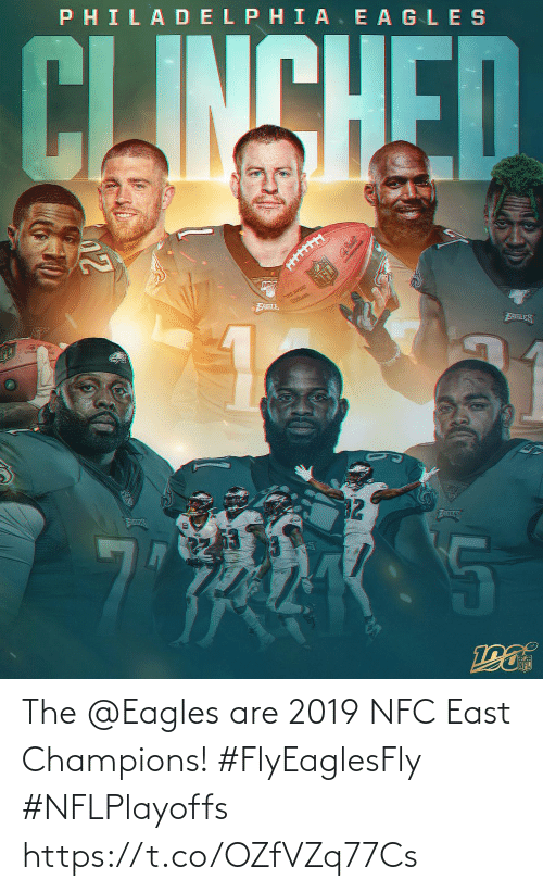 Philadelphia: PHILADELPHIA. E AGLES  CLINSHED  THE QURE  FABLE  EABLES  32  ATLES  AILES The @Eagles are 2019 NFC East Champions! #FlyEaglesFly #NFLPlayoffs https://t.co/OZfVZq77Cs