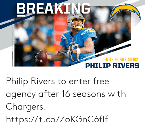 With: Philip Rivers to enter free agency after 16 seasons with Chargers. https://t.co/ZoKGnC6flf