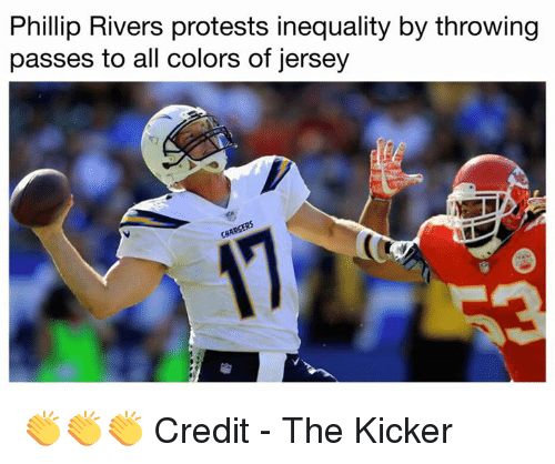 kicker: Phillip Rivers protests inequality by throwing  passes to all colors of jersey 👏👏👏   Credit - The Kicker