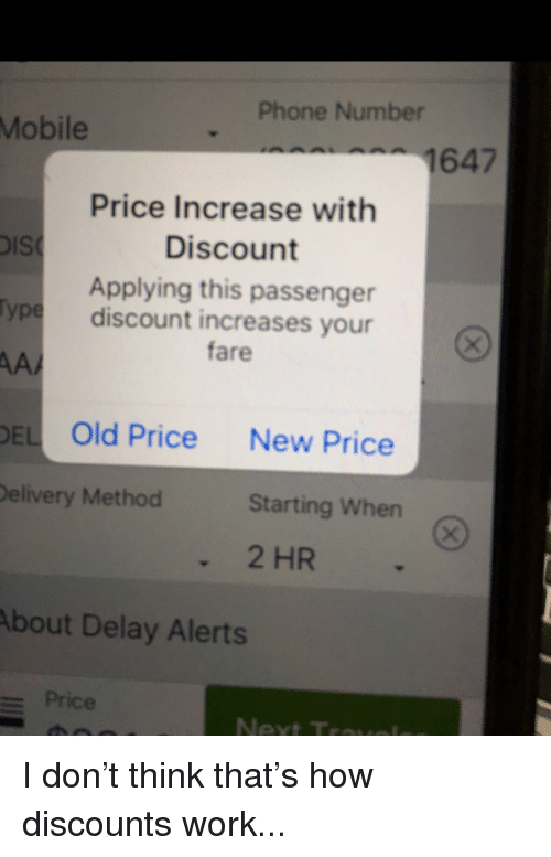 Phone Number Mobile 1647 Price Increase With Discount Applying This ...