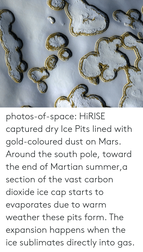 Pits: photos-of-space:  HiRISE captured dry Ice Pits lined with gold-coloured dust on Mars. Around the south pole, toward the end of Martian summer,a section of the vast carbon dioxide ice cap starts to evaporates due to warm weather  these pits form. The expansion happens when the ice sublimates directly into gas.