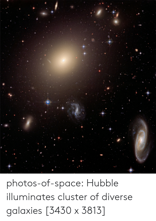 Diverse: photos-of-space:  Hubble illuminates cluster of diverse galaxies [3430 x 3813]