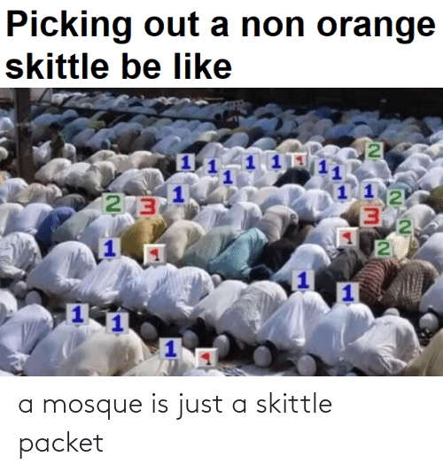 Be Like, Orange, and Dank Memes: Picking out a non orange  skittle be like  2 3  2 a mosque is just a skittle packet