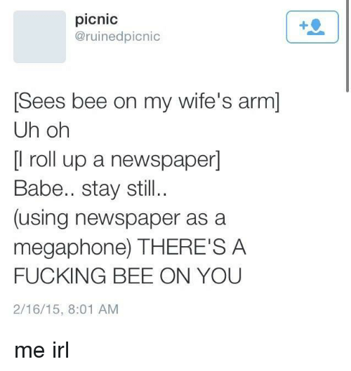 roll up: picnic  @ruinedpicnic  Sees bee on my wife's arm]  Uh oh  [l roll up a newspaper]  Babe.. stay still..  (using newspaper as a  megaphone) THERE'S A  FUCKING BEE ON YOU  2/16/15, 8:01 AM me irl