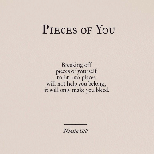 Help, Nikita, and Fit: PIECES OF YOOU  Breaking off  pieces of yourself  to fit into places  will not help you belong,  it will only make you bleed.  Nikita Gill