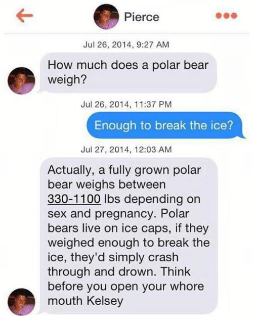 polarized: Pierce  Jul 26, 2014, 9:27 AM  How much does a polar bear  weigh?  Jul 26, 2014, 11:37 PM  Enough to break the ice?  Jul 27, 2014, 12:03 AM  Actually, a fully grown polar  bear weighs between  330-1100 lbs depending on  sex and pregnancy. Polar  bears live on ice caps, if they  weighed enough to break the  ice, they'd simply crash  through and drown. Think  before you open your whore  mouth Kelsey