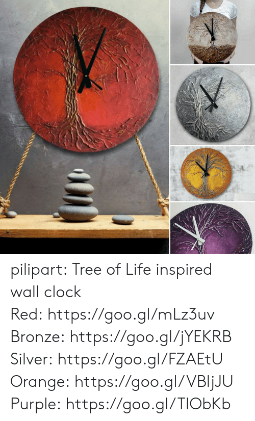 Clock, Life, and Tumblr: pilipart:  Tree of Life inspired wall clock Red: https://goo.gl/mLz3uv Bronze: https://goo.gl/jYEKRB Silver: https://goo.gl/FZAEtU Orange: https://goo.gl/VBljJU Purple: https://goo.gl/TIObKb
