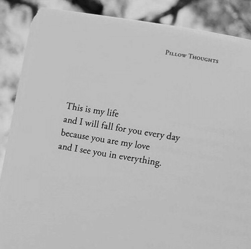 Fall, Life, and Love: PILLOW THOUGHTS  This is my life  and I will fall for you every day  because you are my love  and I see you in everything