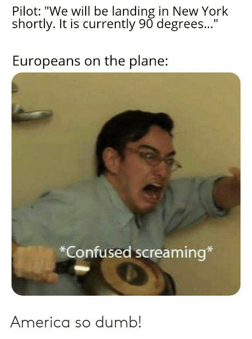 """America, Confused, and Dumb: Pilot: """"We will be landing in New York  shortly. It is currently 90 degrees...""""  Europeans on the plane:  *Confused screaming* America so dumb!"""