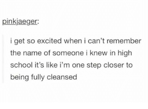 One Step Closer: pinkjaeger:  i get so excited when i can't remember  the name of someone i knew in high  school it's like i'm one step closer to  being fully cleansed