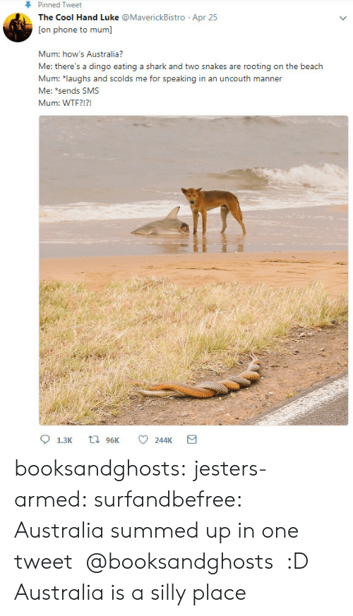 Summed Up: Pinned Tweet  The Cool Hand Luke @MaverickBistro Apr 25  [on phone to mum]  Mum: how's Australia?  Me: there's a dingo eating a shark and two snakes are rooting on the beach  Mar rsusd solderingin an unceouth manner  Me: *sends SMS  Mum: WTF?!? booksandghosts: jesters-armed:   surfandbefree: Australia summed up in one tweet  @booksandghosts  :D   Australia is a silly place