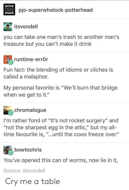 """Cant Make It: pio-superwholock-potterhead  itsvondell  you can take one man's trash to another man's  treasure but you can't make it drink  runtime-errOr  Fun fact: the blending of idioms or cliches is  called a malaphor.  My personal favorite is """"We'll burn that bridge  when we get to it.""""  chromalogue  I'm rather fond of """"It's not rocket surgery"""" and  """"not the sharpest egg in the attic,"""" but my all-  time favourite is, """"...until the cows freeze over.""""  bowtochris  You've opened this can of worms, now lie in it,  Source: itsvondell Cry me a table"""