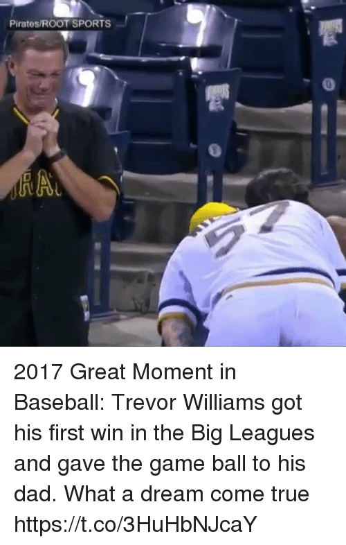 A Dream, Baseball, and Dad: Pirates/ROOT SPORTS 2017 Great Moment in Baseball: Trevor Williams got his first win in the Big Leagues and gave the game ball to his dad. What a dream come true https://t.co/3HuHbNJcaY