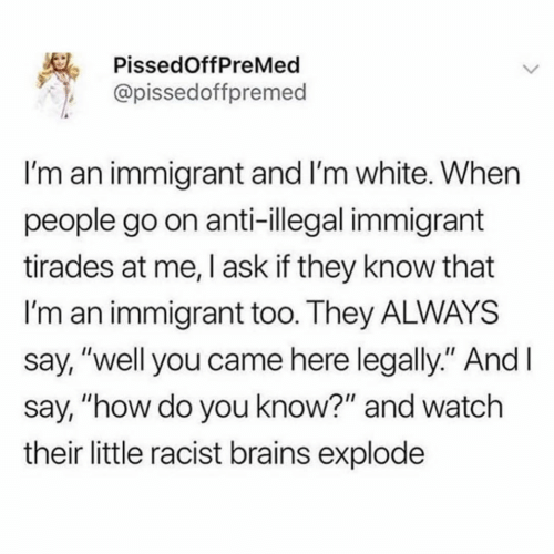 "Illegal Immigrant: PissedOffPreMed  @pissedoffpremed  I'm an immigrant and I'm white. When  people go on anti-illegal immigrant  tirades at me, I ask if they know that  I'm an immigrant too. They ALWAYS  say, ""well you came here legally."" And I  say, ""how do you know?"" and watch  their little racist brains explode  >"