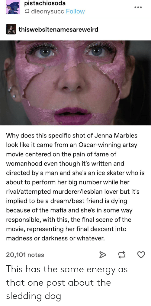 Final Scene: pistachiosoda  5 dieonysucc Follow  thiswebsitenamesareweird  Why does this specific shot of Jenna Marbles  look like it came from an Oscar-winning artsy  movie centered on the pain of fame of  womanhood even though it's written and  directed by a man and she's an ice skater who is  about to perform her big number while her  rival/attempted murderer/lesbian lover but it's  implied to be a dream/best friend is dying  because of the mafia and she's in some way  responsible, with this, the final scene of the  movie, representing her final descent into  madness or darkness or whatever.  20,101 notes This has the same energy as that one post about the sledding dog