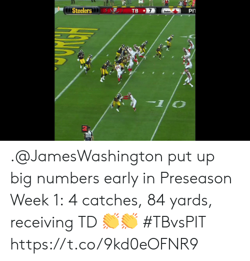preseason: PIT  7  TB  Steelers  Steelers  10 .@JamesWashington put up big numbers early in Preseason Week 1:  4 catches, 84 yards, receiving TD 👏👏  #TBvsPIT https://t.co/9kd0eOFNR9