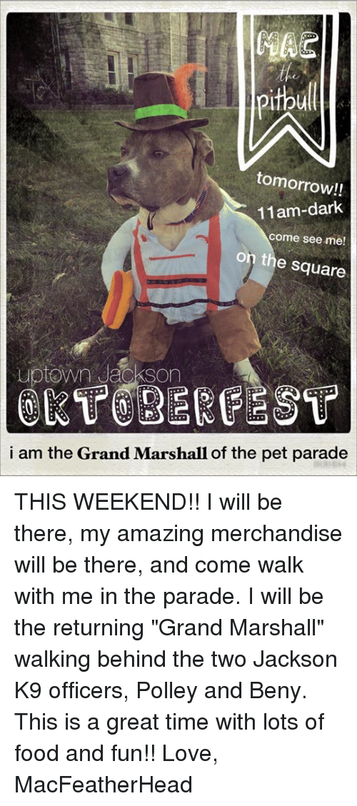 """Food, Love, and Memes: pitbull  tomorrow!!  11am-dark  come see me!  on the square  uptown Jackson  i am the Grand Marshall of the pet parade THIS WEEKEND!! I will be there, my amazing merchandise will be there, and come walk with me in the parade. I will be the returning """"Grand Marshall"""" walking behind the two Jackson K9 officers, Polley and Beny. This is a great time with lots of food and fun!!   Love, MacFeatherHead"""