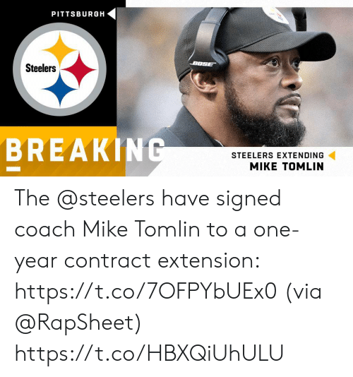 Memes, Mike Tomlin, and Pittsburgh: PITTSBURGH  BOSE  Steelers  BREAKING  STEELERS EXTENDING The @steelers have signed coach Mike Tomlin to a one-year contract extension: https://t.co/7OFPYbUEx0 (via @RapSheet) https://t.co/HBXQiUhULU