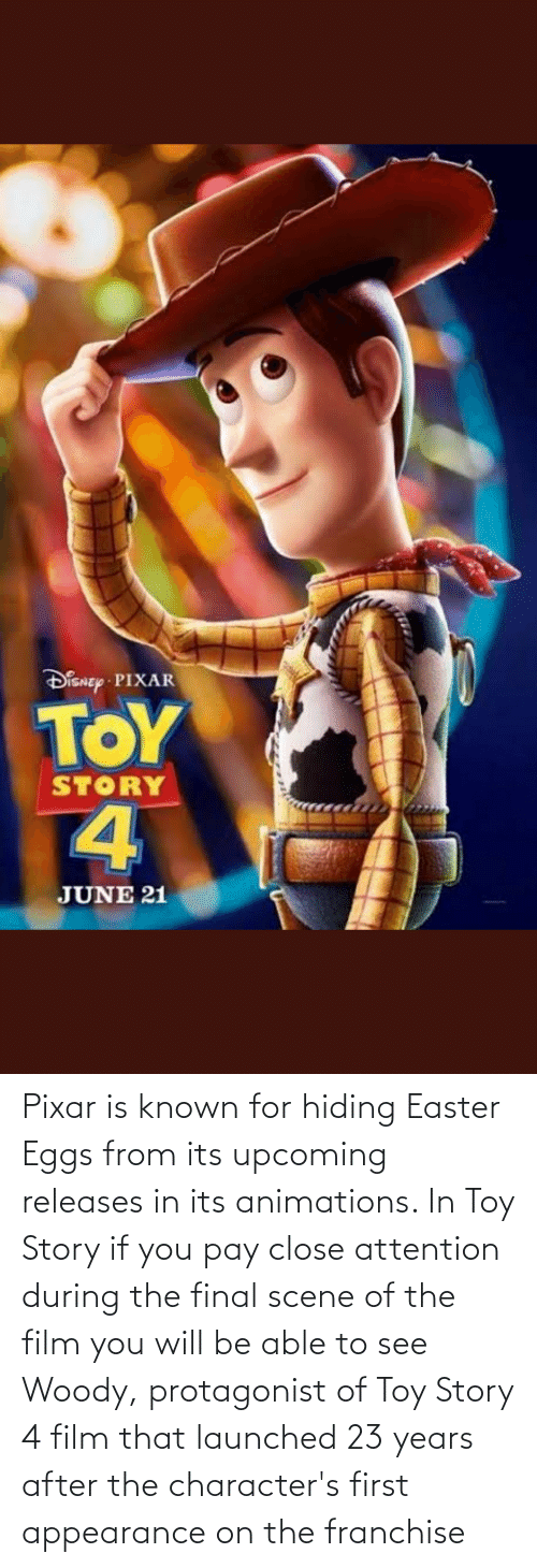 Final Scene: Pixar is known for hiding Easter Eggs from its upcoming releases in its animations. In Toy Story if you pay close attention during the final scene of the film you will be able to see Woody, protagonist of Toy Story 4 film that launched 23 years after the character's first appearance on the franchise