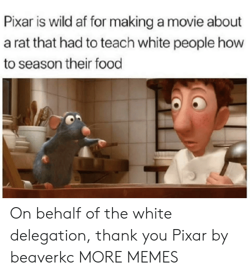 Pixar: Pixar is wild af for making a movie about  a rat that had to teach white people how  to season their food On behalf of the white delegation, thank you Pixar by beaverkc MORE MEMES