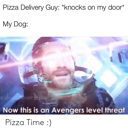 "Pizza, Avengers, and Time: Pizza Delivery Guy: ""knocks on my door*  My Dog:  Vil aiehree tinusad  Now this is an Avengers level threat Pizza Time :)"