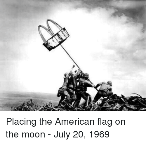 American, American Flag, and Moon: Placing the American flag on the moon - July 20, 1969