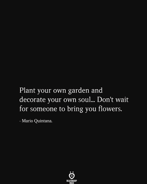 Mario, Flowers, and Soul: Plant your own garden and  decorate your own soul... Don't wait  for someone to bring you flowers.  Mario Quintana.  RELATIONSHIP  RILES