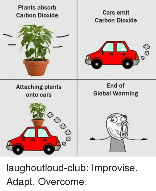 Cars, Club, and Global Warming: Plants absorb  Carbon Dioxide  Cars emit  Carbon Dioxide  Attaching plants  onto cars  End of  Global Warming laughoutloud-club:  Improvise. Adapt. Overcome.