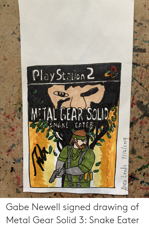 Snake, Gabe Newell, and Metal Gear: Play Staion 2  METAL GEAR SOLID  SNAKE EATER  Alex Leeds 7//2/20/q Gabe Newell signed drawing of Metal Gear Solid 3: Snake Eater