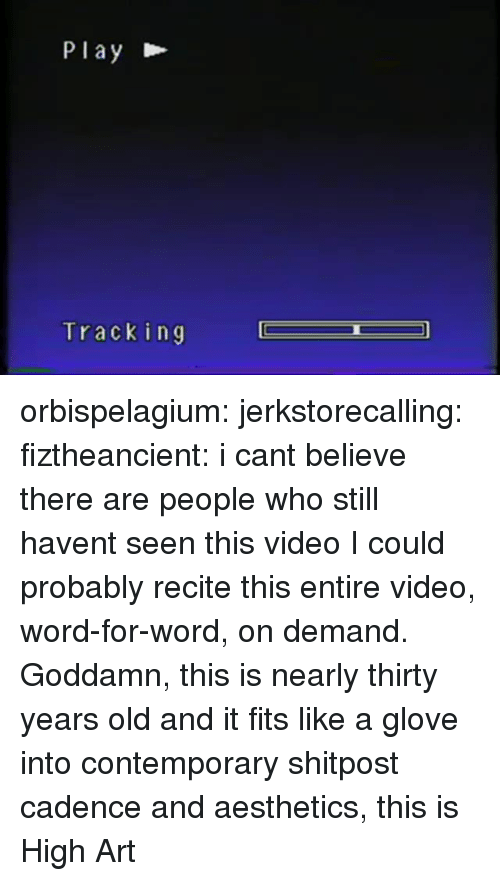 Target, Tumblr, and Blog: Play  Tracking orbispelagium: jerkstorecalling:  fiztheancient:  i cant believe there are people who still havent seen this video  I could probably recite this entire video, word-for-word, on demand.   Goddamn, this is nearly thirty years old and it fits like a glove into contemporary shitpost cadence and aesthetics, this is High Art