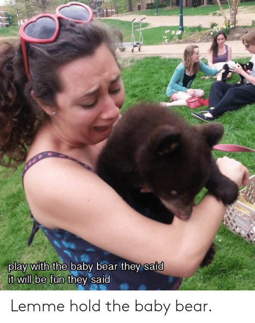 Bear, Baby, and Fun: play with the baby bear they said  will be fun t Lemme hold the baby bear.