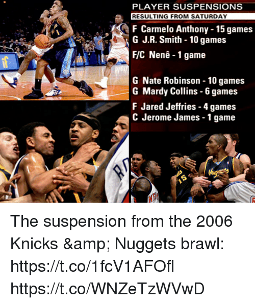 J R Smith: PLAYER SUSPENSIONS  RESULTING FROM SATURDAY  F Carmelo Anthony -15 games  G J.R. Smith - 10 games  F/C Nenê-1 game  G Nate Robinson - 10 games  G Mardy Collins - 6 games  FJared Jeffries- 4 games  C Jerome James -1 game The suspension from the 2006 Knicks & Nuggets brawl: https://t.co/1fcV1AFOfl https://t.co/WNZeTzWVwD