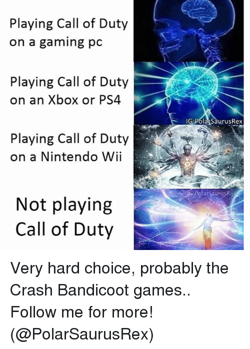 nintendo wii: Playing Call of Duty  on a gaming pc  Playing Call of Duty  on an Xbox or PS4  Playing Call of Duty  on a Nintendo Wii  Not playing  Call of Duty  G PolagSaurusRex Very hard choice, probably the Crash Bandicoot games.. Follow me for more! (@PolarSaurusRex)