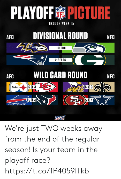 Race: PLAYOFF PICTURE  THROUGH WEEK 15  DIVISIONAL ROUND  AFC  NFC  1 SEEDS  G)  2 SEEDS  WILD CARD ROUND  AFC  NFC  6аз  6 a 3  Steelers  5 a 4  15 @ 4 We're just TWO weeks away from the end of the regular season! Is your team in the playoff race? https://t.co/fP4059ITkb